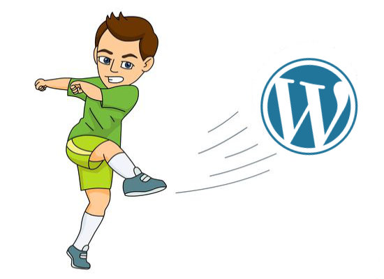 Kicking the Wordpress Logo as if it were a football