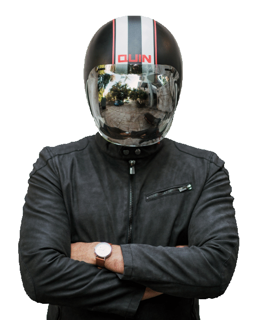 Man wearing a motorcycle helmet