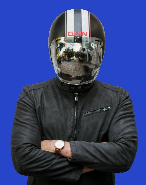 Man wearing a motorcycle helmet